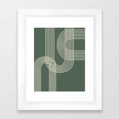 Minimalist Lines in Forest Green Framed Art Print - Society6
