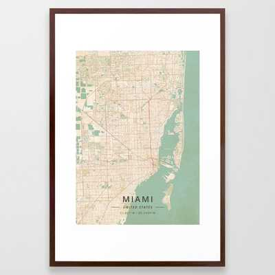 Miami, United States - Vintage Map Framed Art Print - Society6
