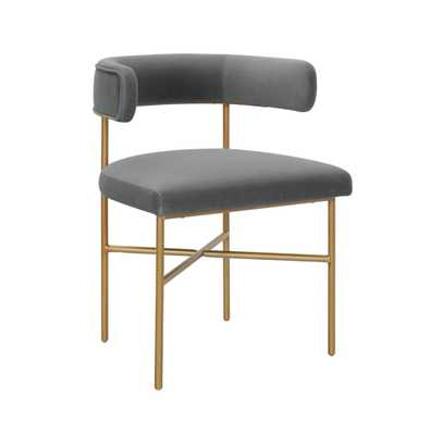 Rachel Performance Velvet Chair in Gray - Maren Home