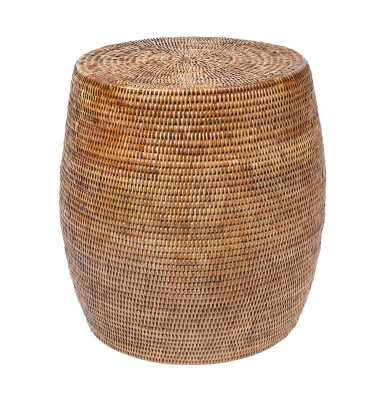 Lorie Rattan Accent Stool - Wayfair