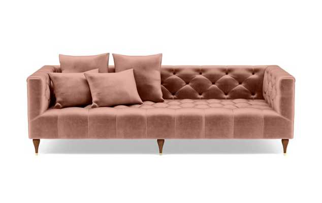 Ms. Chesterfield Sofa in Blush Fabric with Oiled Walnut with Brass Cap legs - Interior Define