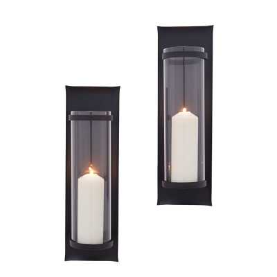 Tall Iron and Glass Wall Sconce - Wayfair