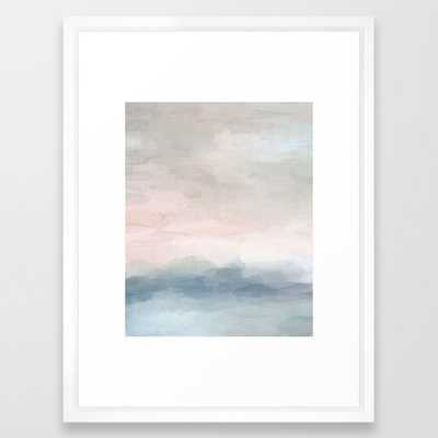Blush Pink Mint Sky Baby Blue Abstract Ocean Sky Sunrise Wall Art, Water Clouds Painting Framed Art Print - Society6