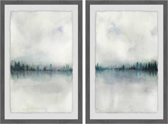 'Cloudy Lake' 2 Piece Framed Watercolor Painting Print Set on Paper - Wayfair