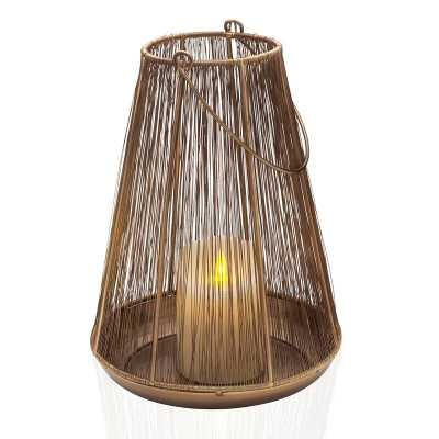 Scott Living Luxe Gold Metal Wire Lantern, 11-Inch - Wayfair