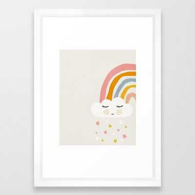 Rainbow, Abstract, Mid century modern kids wall art, Nursery room Framed Art Print - Society6
