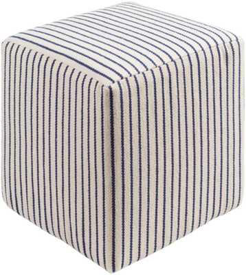 Matchford Cotton pouf in Cream and Navy color - Burke Decor