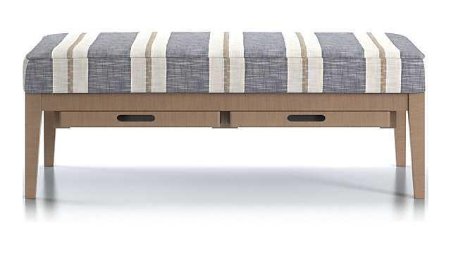 Nash Rectangular Ottoman with Tray, Vintage leg finish, Winward Stripe Sky Fabric - Crate and Barrel