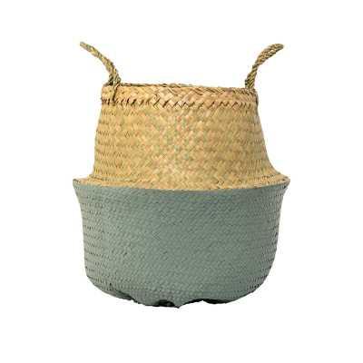 Seagrass Basket with Handles - Blue - AllModern
