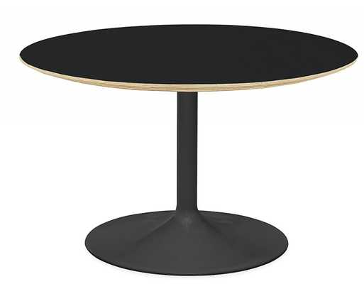Aria Round Tables - Black laminated plywood, Graphite Base - Room & Board