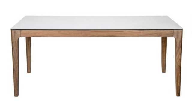 White Ceramic Glass And Walnut Jett Dining Table - World Market/Cost Plus