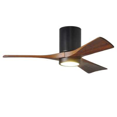 """Matte Black 42"""" Trost 3 Blade Hugger Ceiling Fan with Wall Remote and Light Kit - Wayfair"""