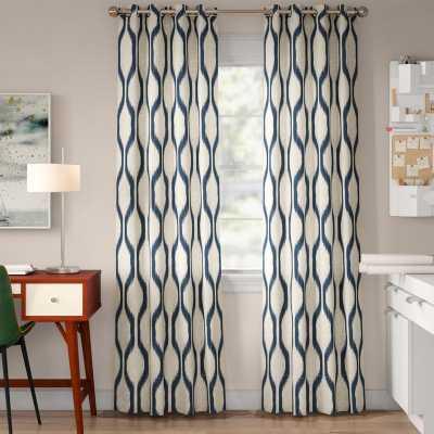 "Valdovinos Geometric Room Darkening Grommet Single Curtain Panel, Indigo, 52"" W x 95"" L - Wayfair"