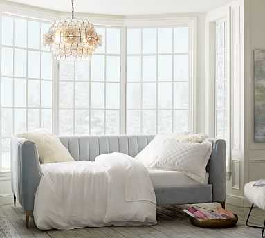 Morgan Upholstered Daybed, Full, Brushed Crossweave Natural - Pottery Barn