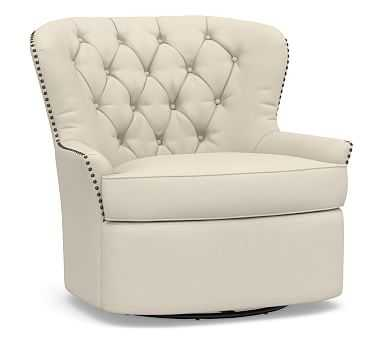 Cardiff Upholstered Swivel Armchair, Polyester Wrapped Cushions, Performance Brushed Basketweave Ivory - Pottery Barn