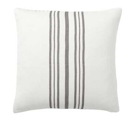"Culver Reversible Stripe Grainsack Pillow Cover, 20"", Gray - Pottery Barn"