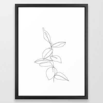 "One line minimal plant leaves drawing - Berry Framed Art Print - Scoop Black frame - Medium (gallery) - 20"" X 26"" - Society6"
