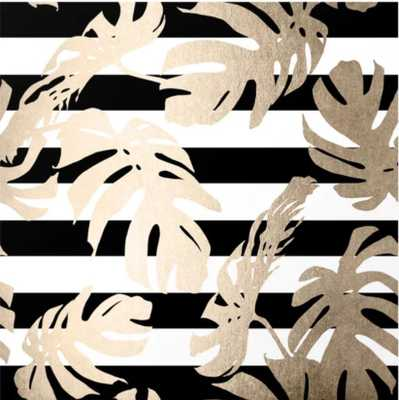 311 Simply Tropical Palm Leaves on Stripes Wall Mural, 8' x 8' - Society6