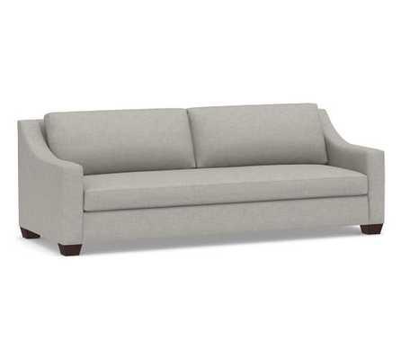 York Slope Arm Upholstered Sofa, Grand with Bench Cushion, Premium Performance Basketweave, Light Gray - Pottery Barn