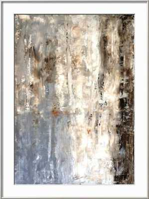 "BROWN AND GREY ABSTRACT ART PAINTING - 30''x40"" - Ronda Silver - Crisp Bright WHite Mat - art.com"