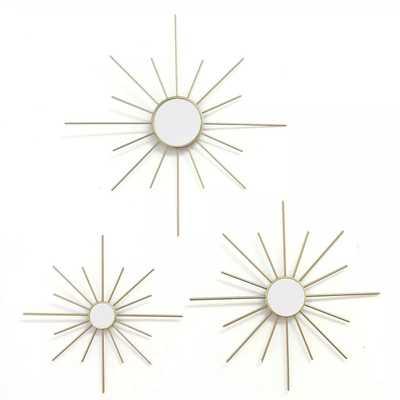 Stratton Home Mirror Burst Metallic Modern Wall Art Decor Set of 3, Gold - Target