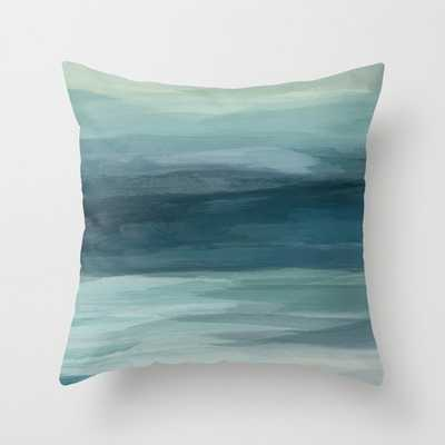 "Seafoam Green Mint Navy Blue Abstract Ocean Art Painting Throw Pillow - 24"" - Society6"