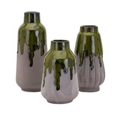 Nasi Green Drip Vases - Set of 3 - Mercer Collection