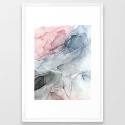 Pastel Blush, Grey and Blue Ink Clouds Painting Framed Art Print // 26x38 - Society6