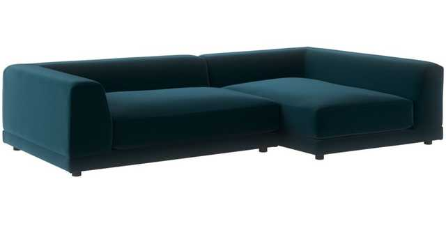 Uno 2-Piece Right Arm Sapphire Striped Sectional Sofa - CB2