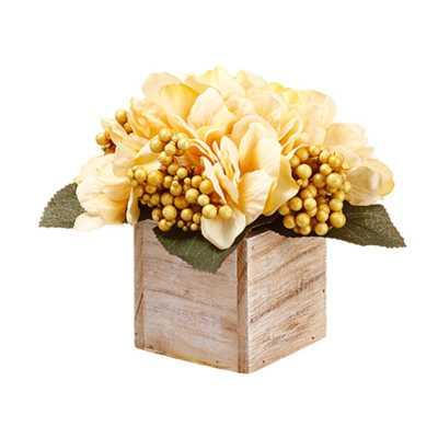 Hydrangea and Berry Floral Arrangement in Planter - Wayfair