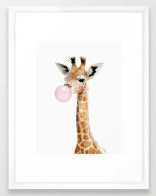Bubble Gum Baby Giraffe Framed Art Print - Society6