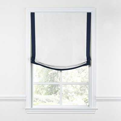 RELAXED ROMAN SHADE - WHITE WITH NAVY TRIM - 50'X70' - Loom Decor