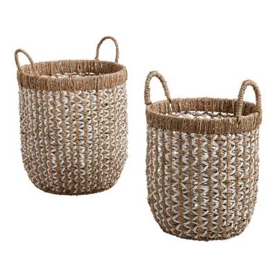White And Natural Seagrass Clara Tote Basket (Small) - World Market/Cost Plus