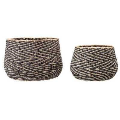 Handwoven Chevron Patterned Seagrass 2 Piece Wicker Basket Set - Wayfair