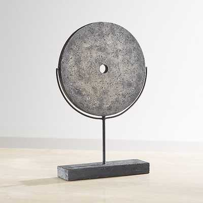 Dark Grey Volcanic Disc Sculpture - Crate and Barrel