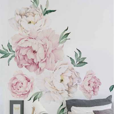 Peony Flowers Wall Decal- Vintage Pink - Wayfair