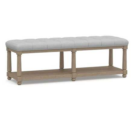 Berlin Tufted Bench, Performance Chateau Basketweave Light Gray - Pottery Barn