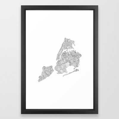 New York City Boroughs - Hand lettered map Framed Art Print by Type by Hand - Society6