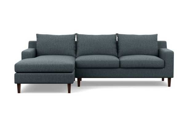 Sloan Left Chaise Sectional with Rain Fabric, Oiled Walnut legs, - Interior Define