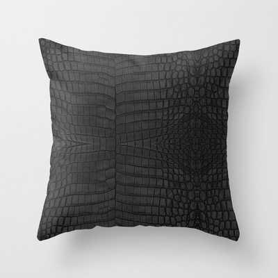 Black Crocodile Leather Print Throw Pillow - Society6