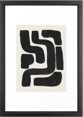 Black Ink Paint Brush Strokes Abstract Organic Pattern Mid Century Style Framed Art Print - Society6