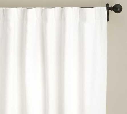 "Emery Linen/Cotton Pole Pocket Drape, 50 x 96"", Single Width, White - Pottery Barn"