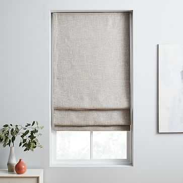 """Crossweave Cordless Shade, Blackout Lining, Flax 32""""x64"""" - West Elm"""