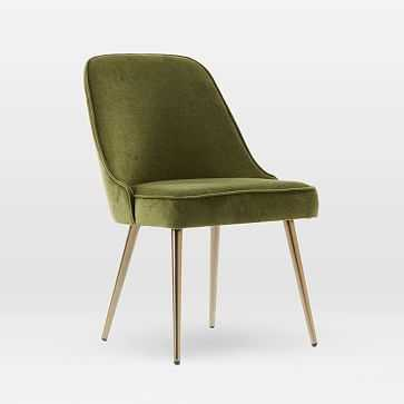 Mid-Century Upholstered Chair, Oil Rubbed Bronze, Distressed Velvet, Olive - West Elm