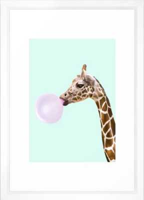 "GIRAFFE Framed Art Print - 15"" X 21"" - Vector White Frame - Society6"