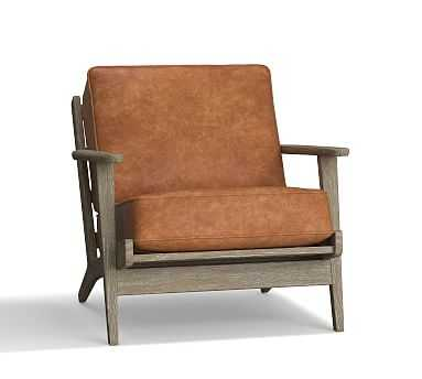 Raylan Leather Armchair, Down Blend Wrapped Cushions, Statesville Caramel - Pottery Barn