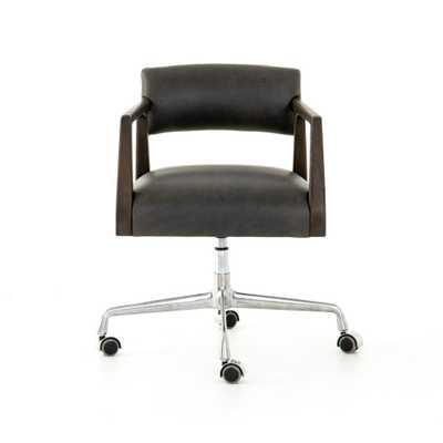 Tyler Desk Chair in Chaps Ebony - Burke Decor