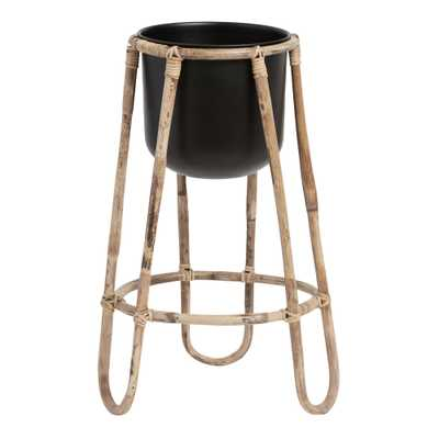 Black Metal Floor Planter With Rattan Cane Stand - World Market/Cost Plus