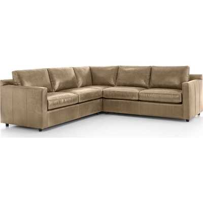 Barrett Leather 3-Piece Sectional - Crate and Barrel