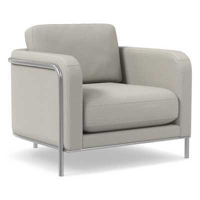 Nina Chair, Poly, Basket Slub, Feather Grey, Polished Stainless Steel - West Elm